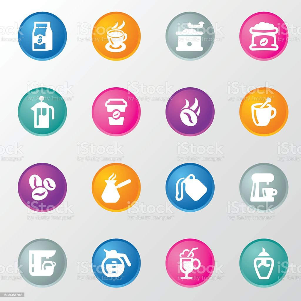 Coffee Circle Color Icons vector art illustration