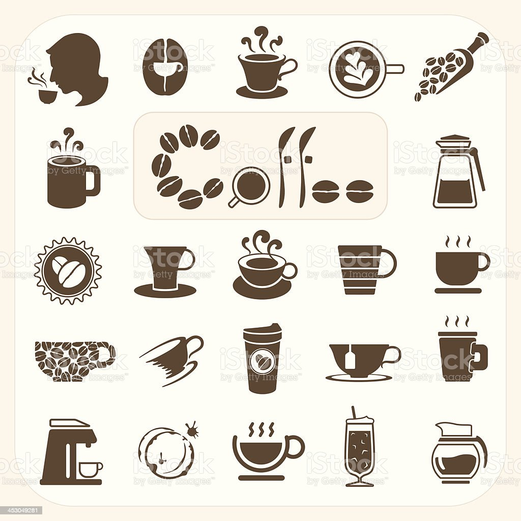 Coffee collection, Vector icons set royalty-free stock vector art