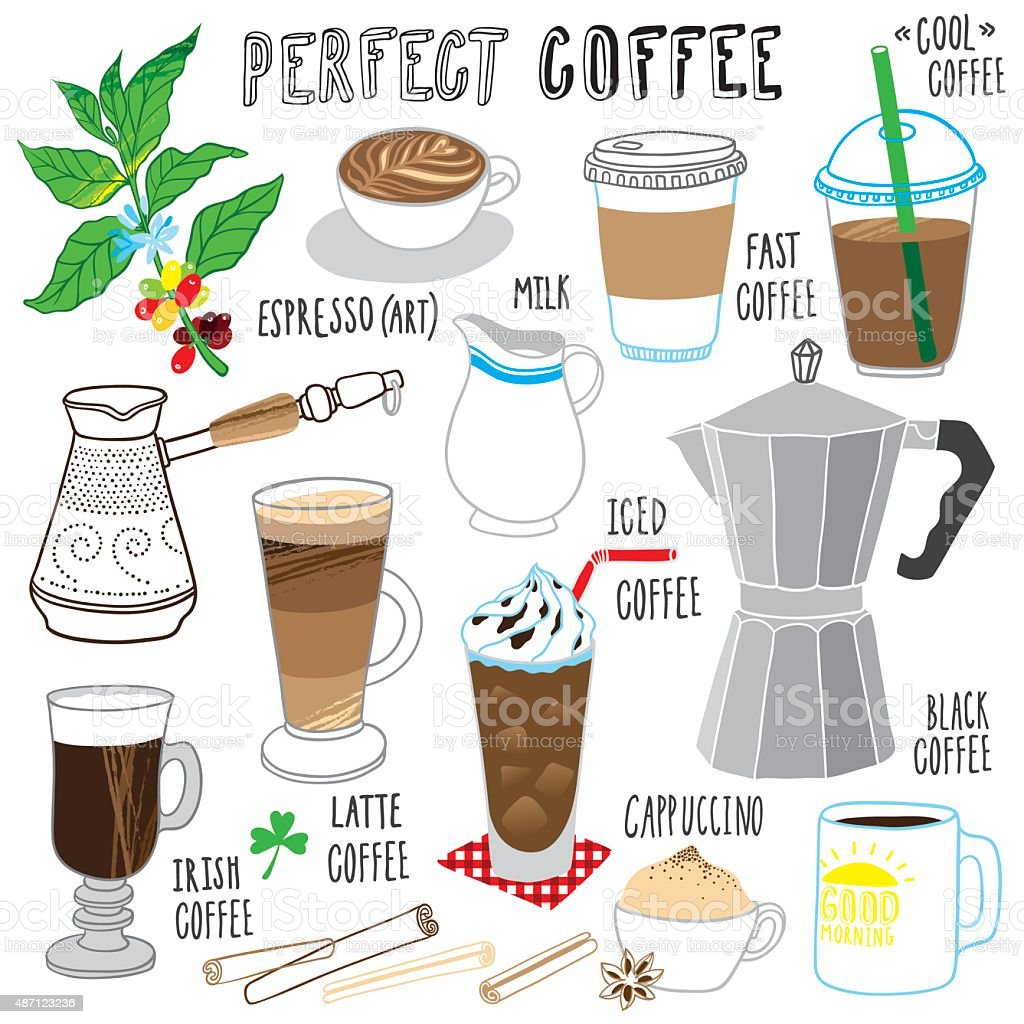 coffee collection vector art illustration