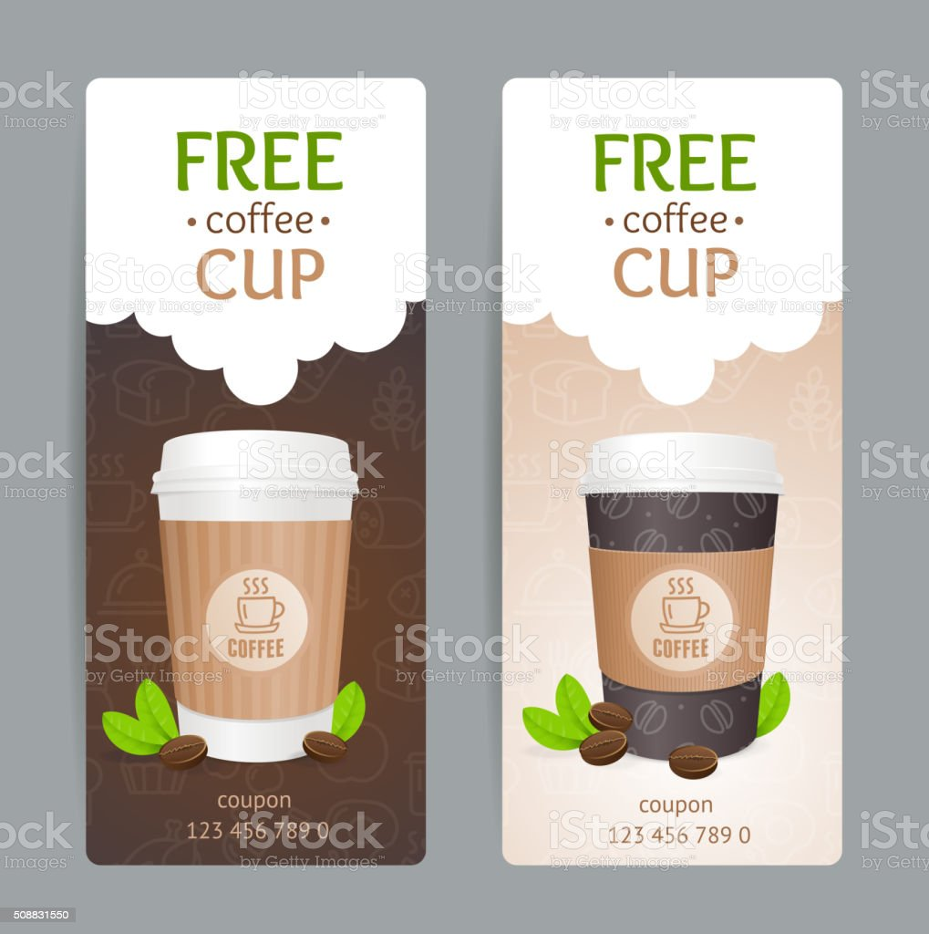 Coffee Coupon Set. Free Cup. Vector vector art illustration