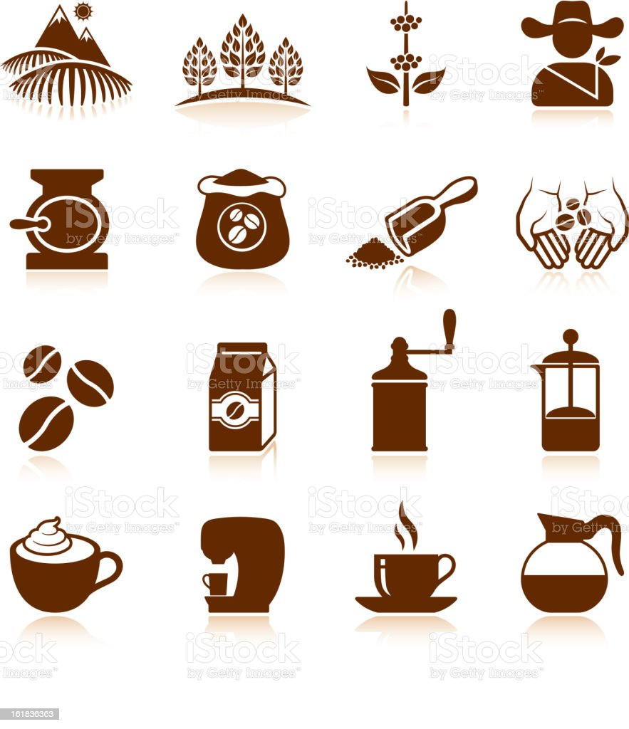 Coffee crop farming plantation and caffeine processing vector icon set. vector art illustration