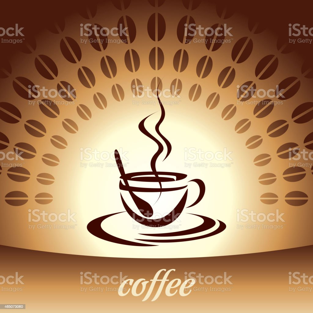 Coffee Cup and Beans Illustration vector art illustration