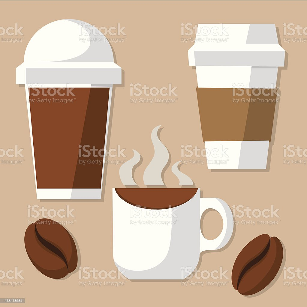 Coffee cup and beans vector art illustration