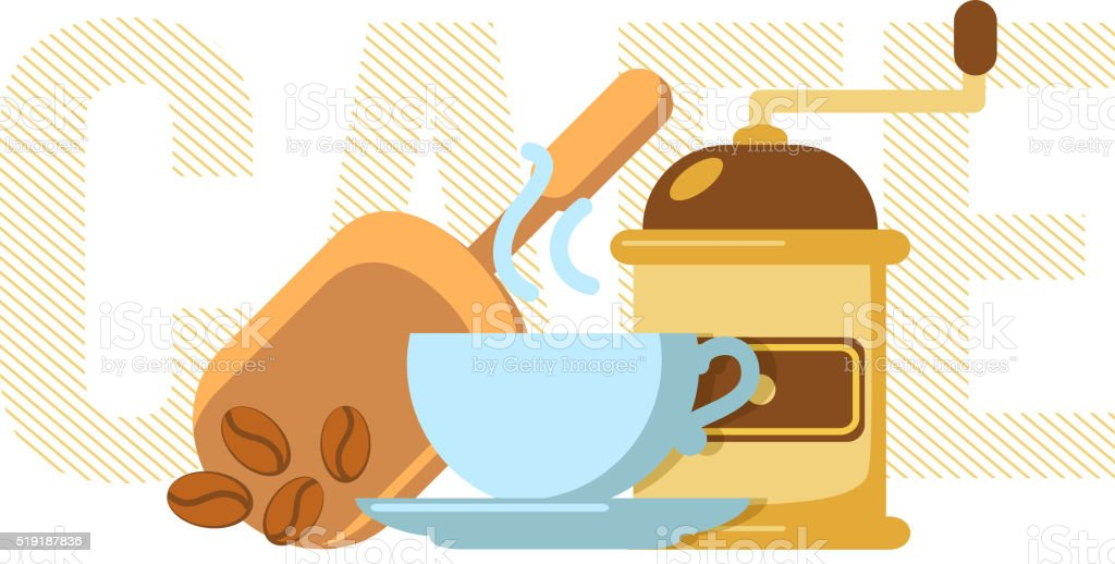 Coffee cup and mill. vector art illustration