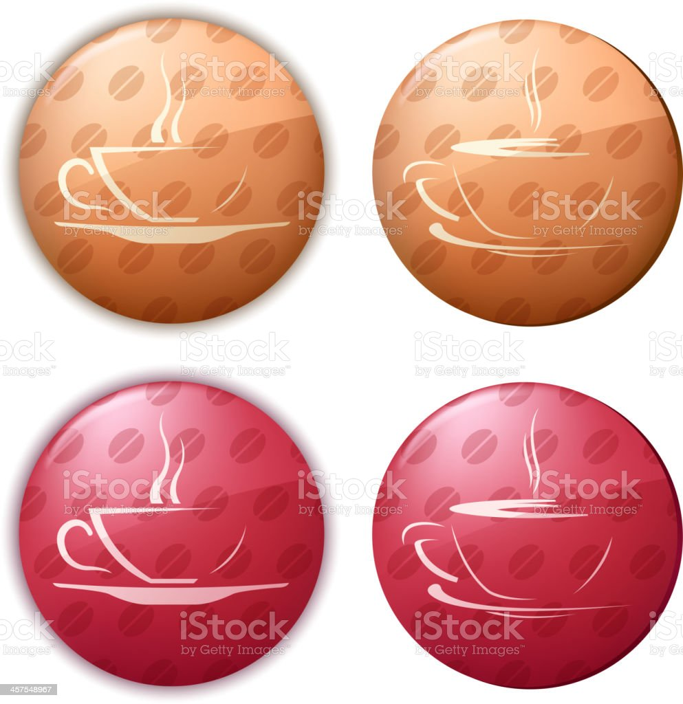 coffee cup buttons vector art illustration