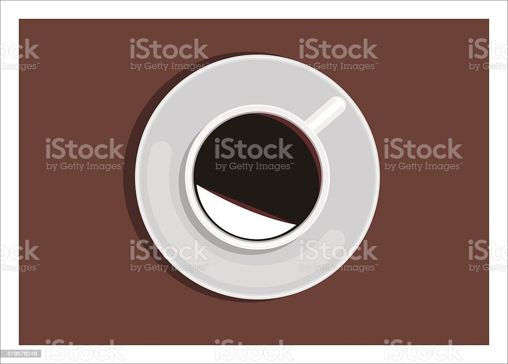 coffee cup from the top vector art illustration