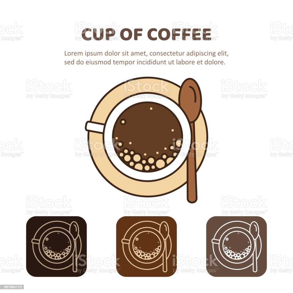 Coffee cup icon linear. View from above. vector art illustration