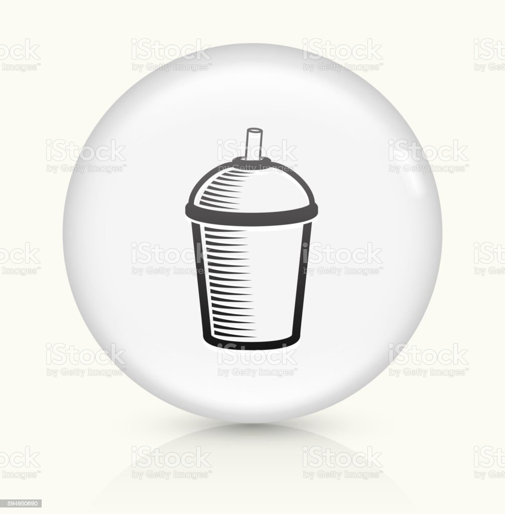 Coffee Cup icon on white round vector button vector art illustration