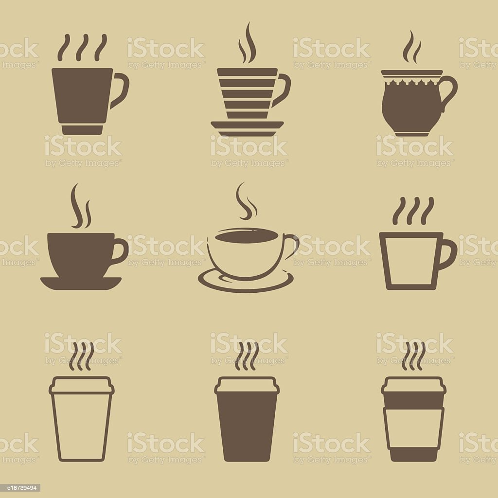 Coffee cup icon set vector art illustration