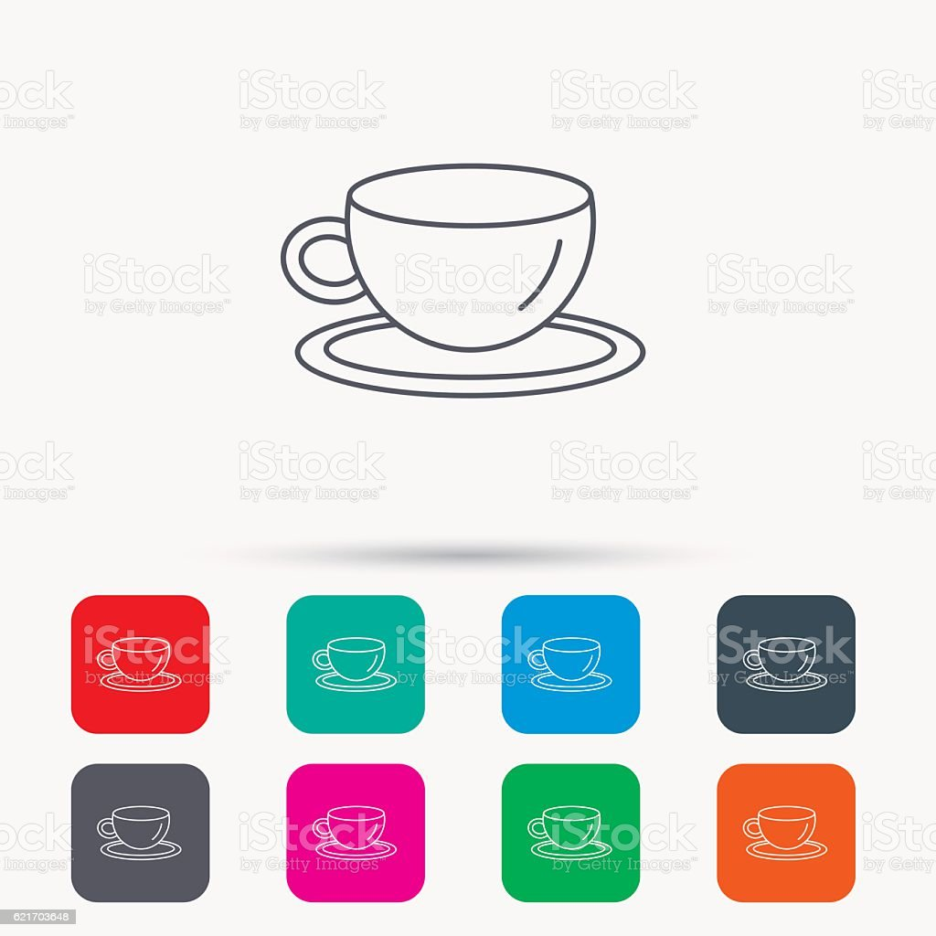 Coffee cup icon. Tea or hot drink sign. vector art illustration