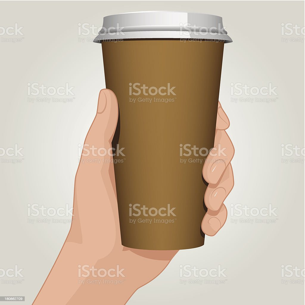 Coffee cup in hand vector art illustration