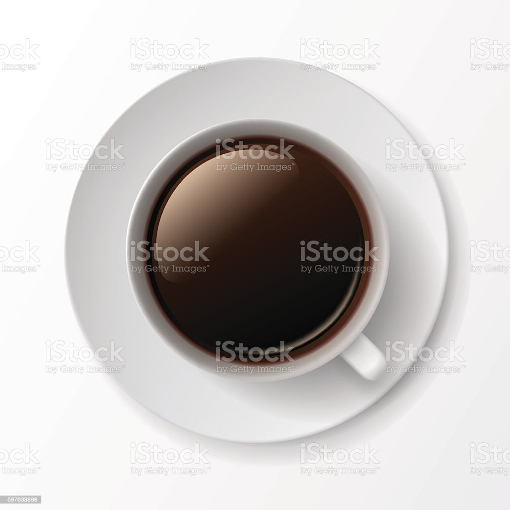 Coffee Cup Mug with Crema Foam Bubbles vector art illustration