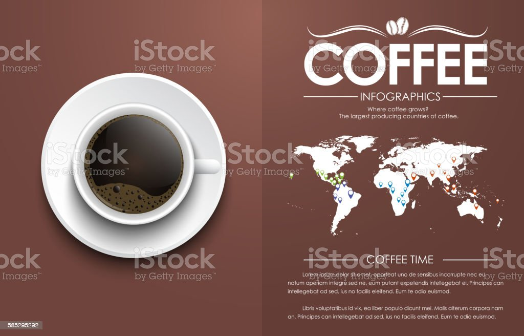 Coffee cup on a brown background with text vector art illustration