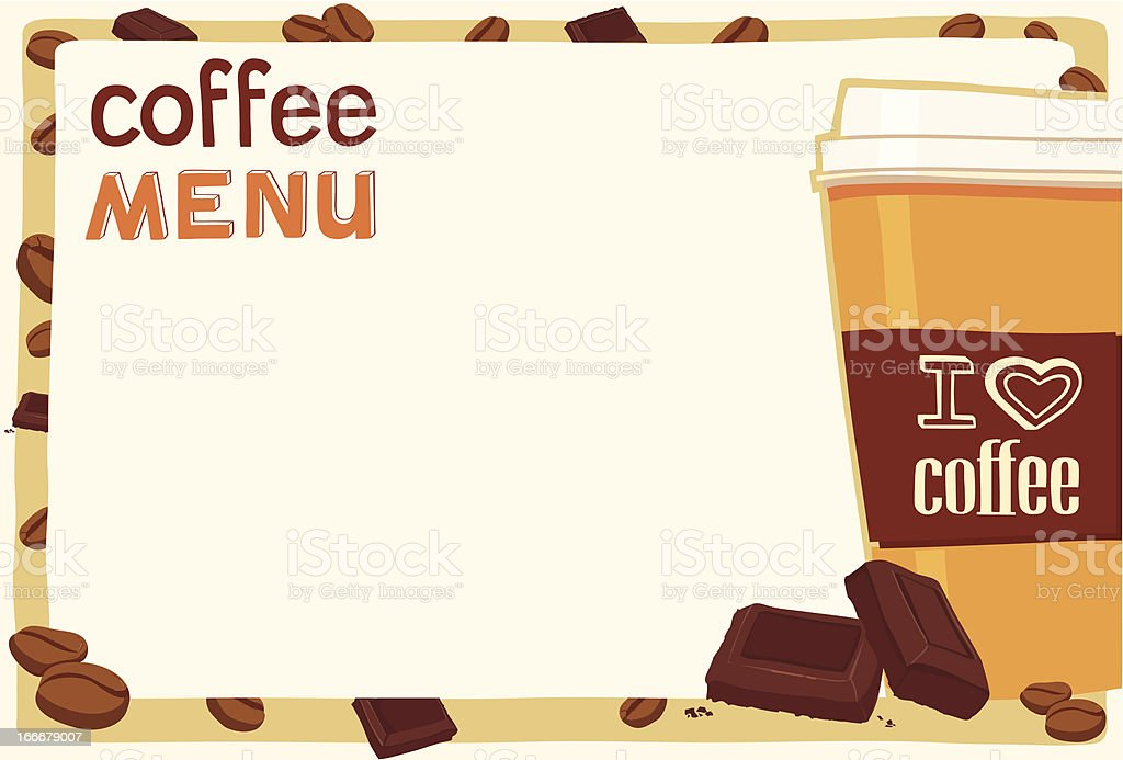 coffee cup on menu board with chocolate and beans royalty-free stock vector art
