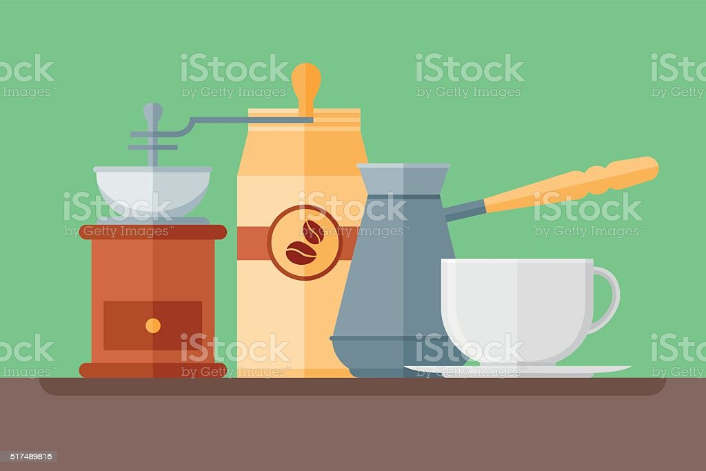 Coffee cup, pot, grinder and packaging. Vector flat style banner. vector art illustration