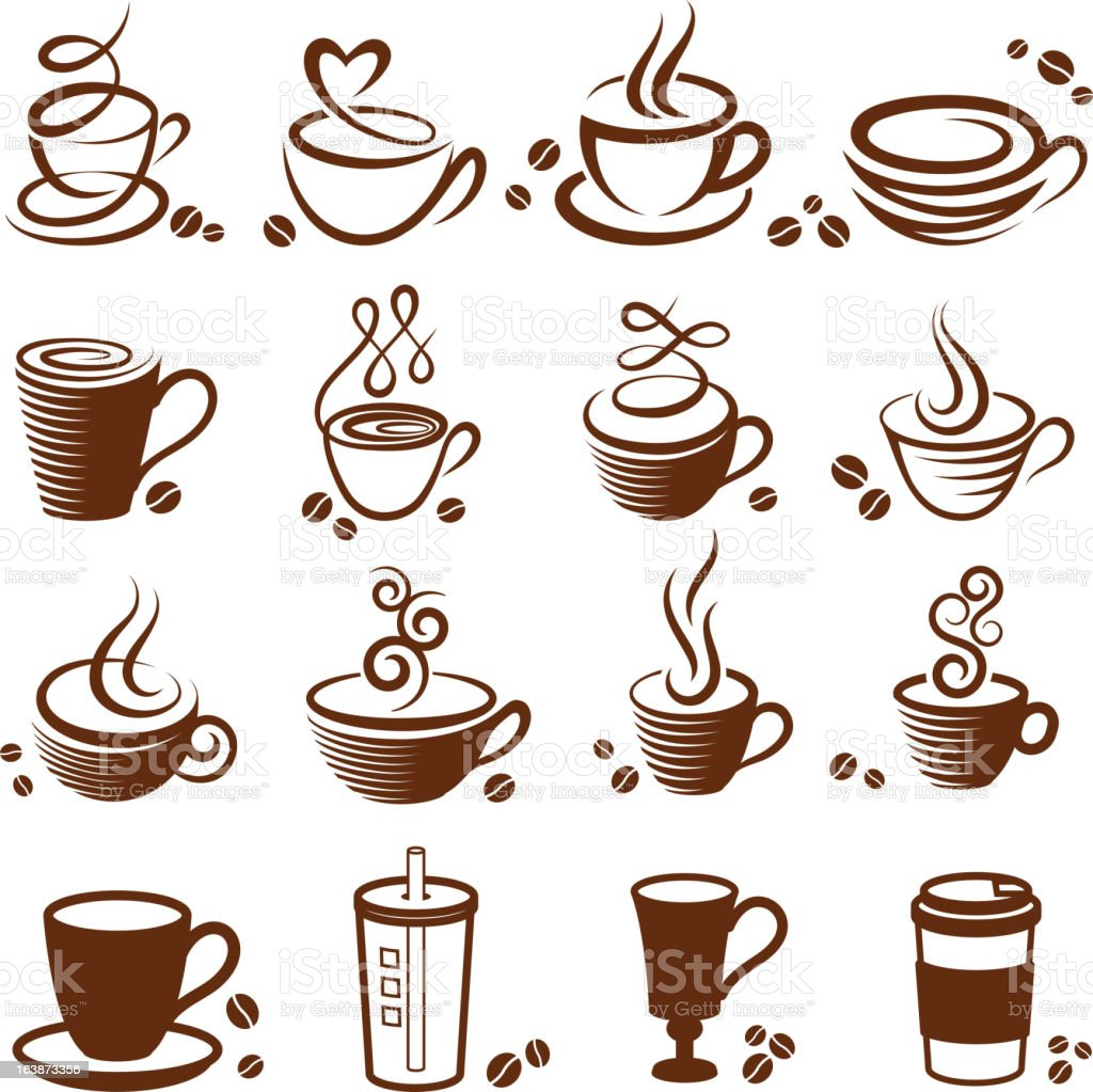 Coffee cup vector white icon set vector art illustration