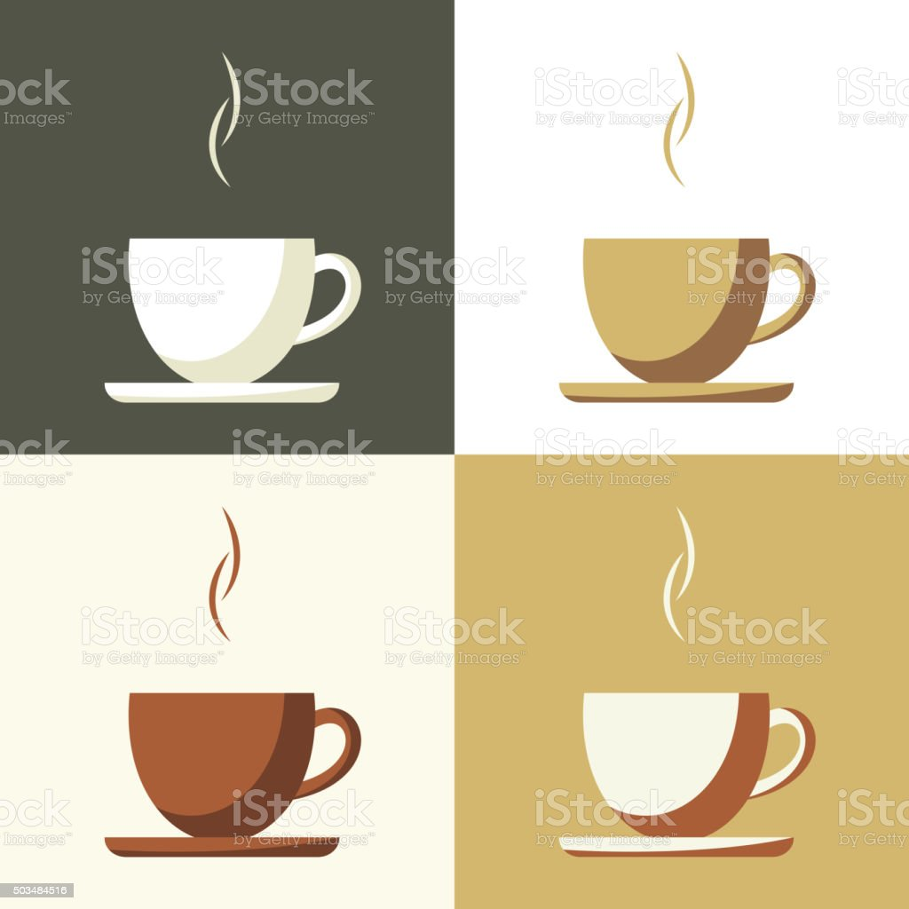 Coffee cup set  icon vector art illustration