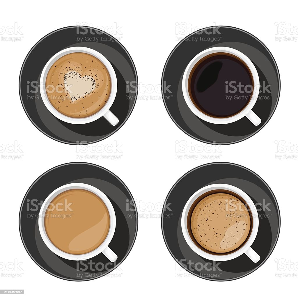 Coffee cup set top view. Americano, latte, espresso, cappuccino vector art illustration