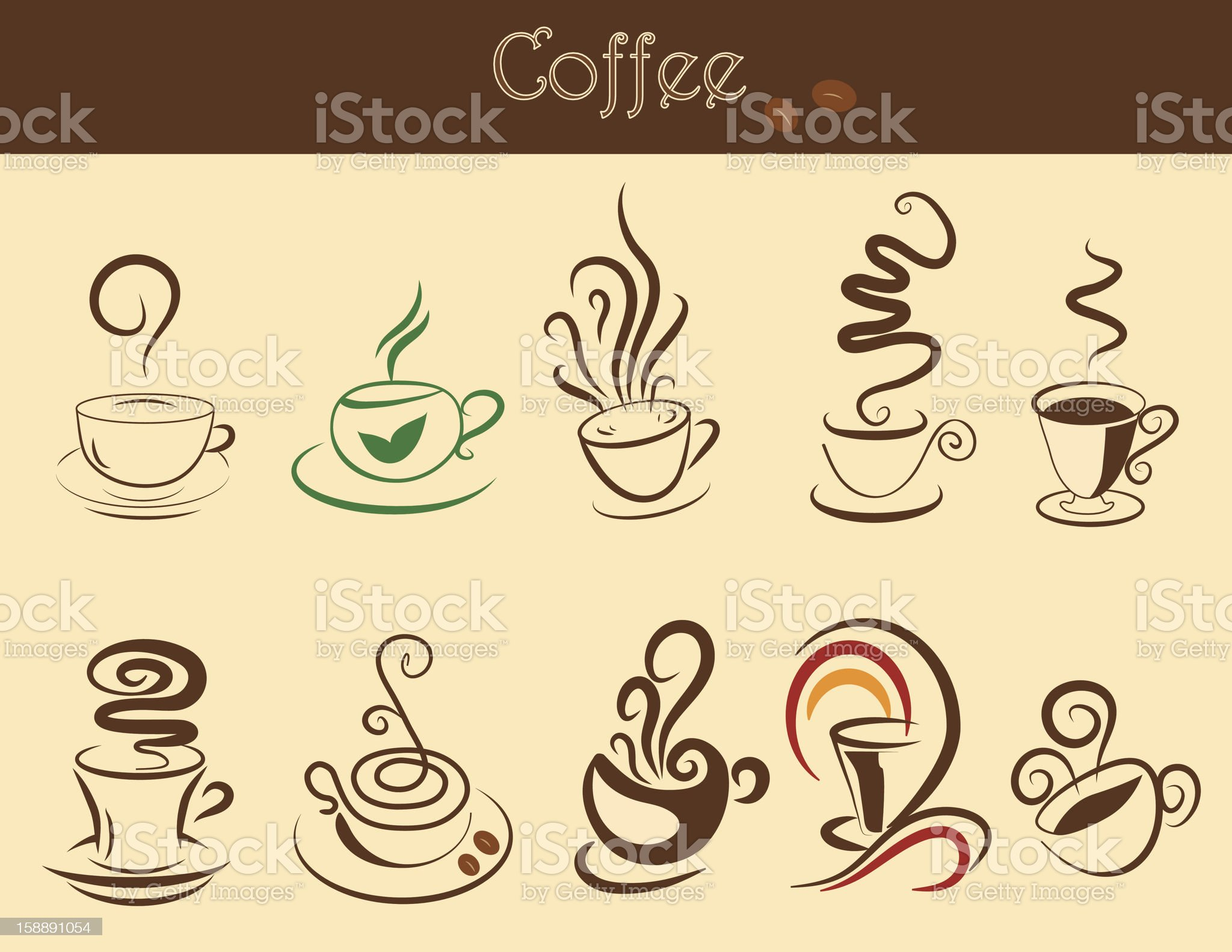Coffee cup set royalty-free stock vector art