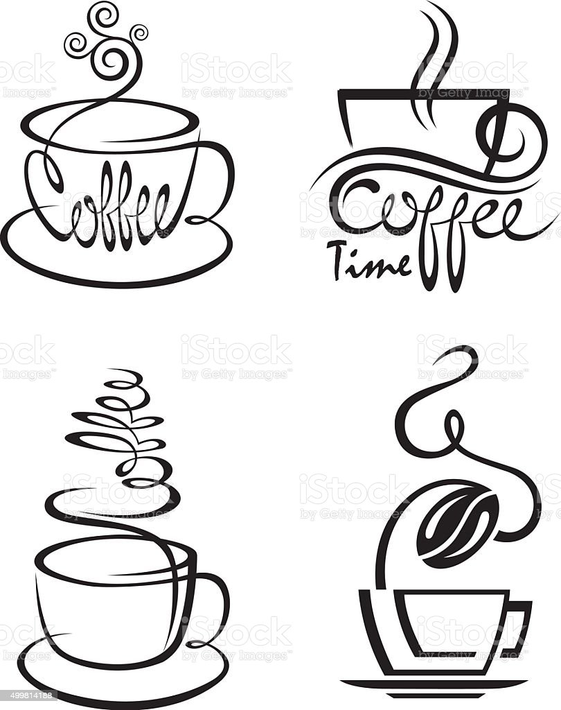 coffee cup set vector art illustration