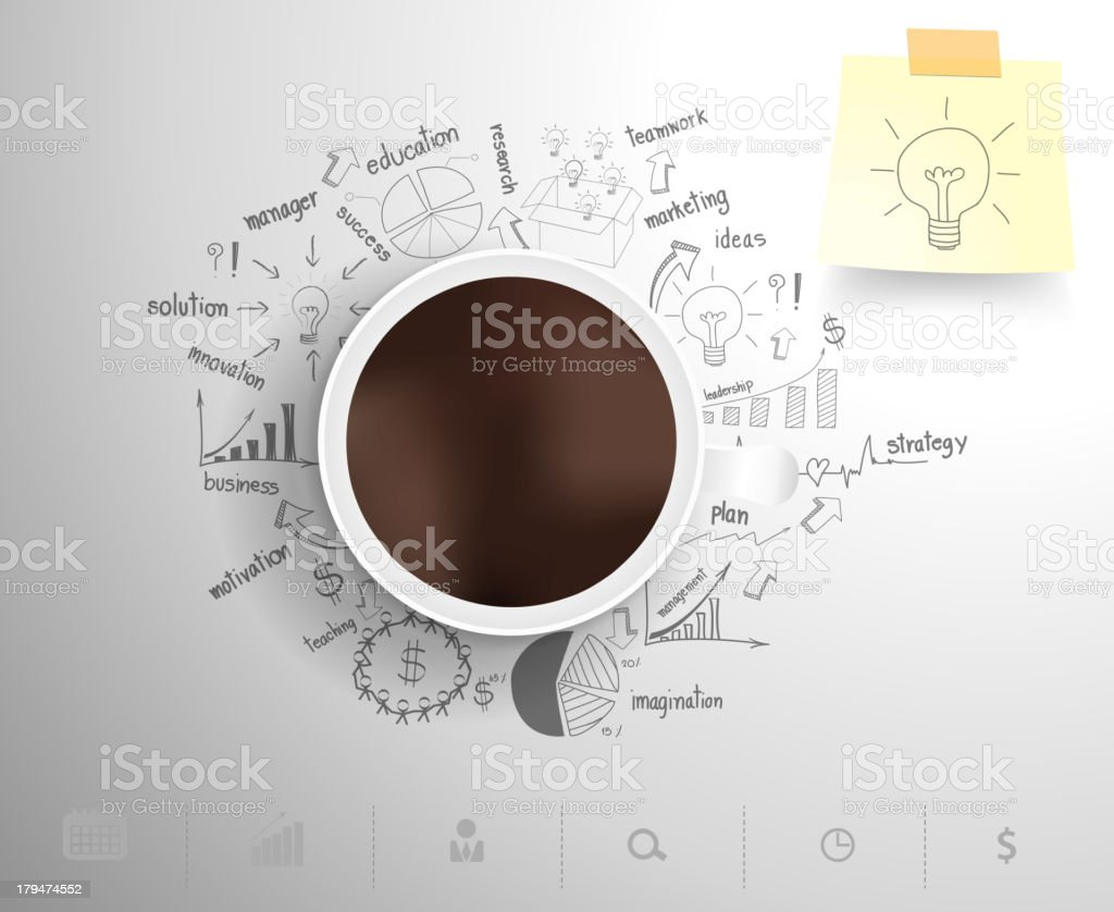 Coffee cup sitting on drawn business plan icons vector art illustration