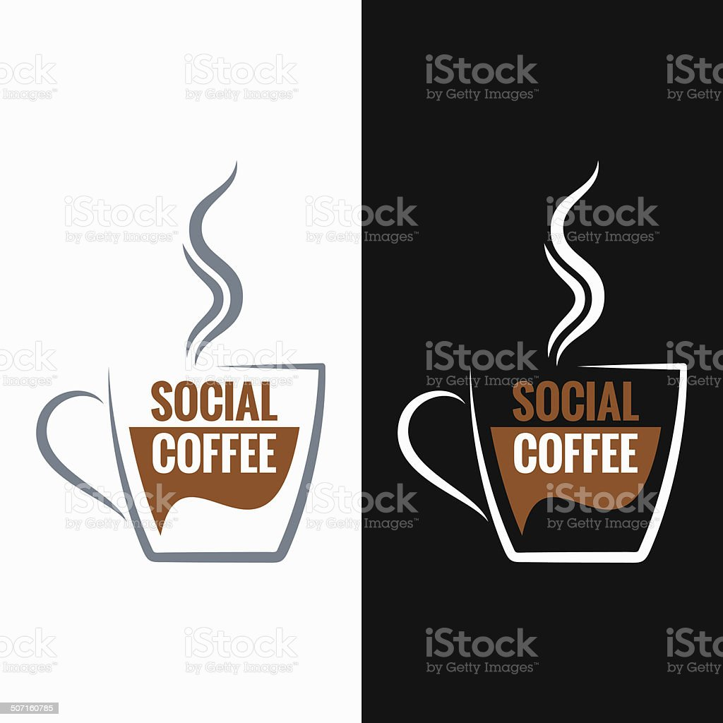 coffee cup social media concept background vector art illustration