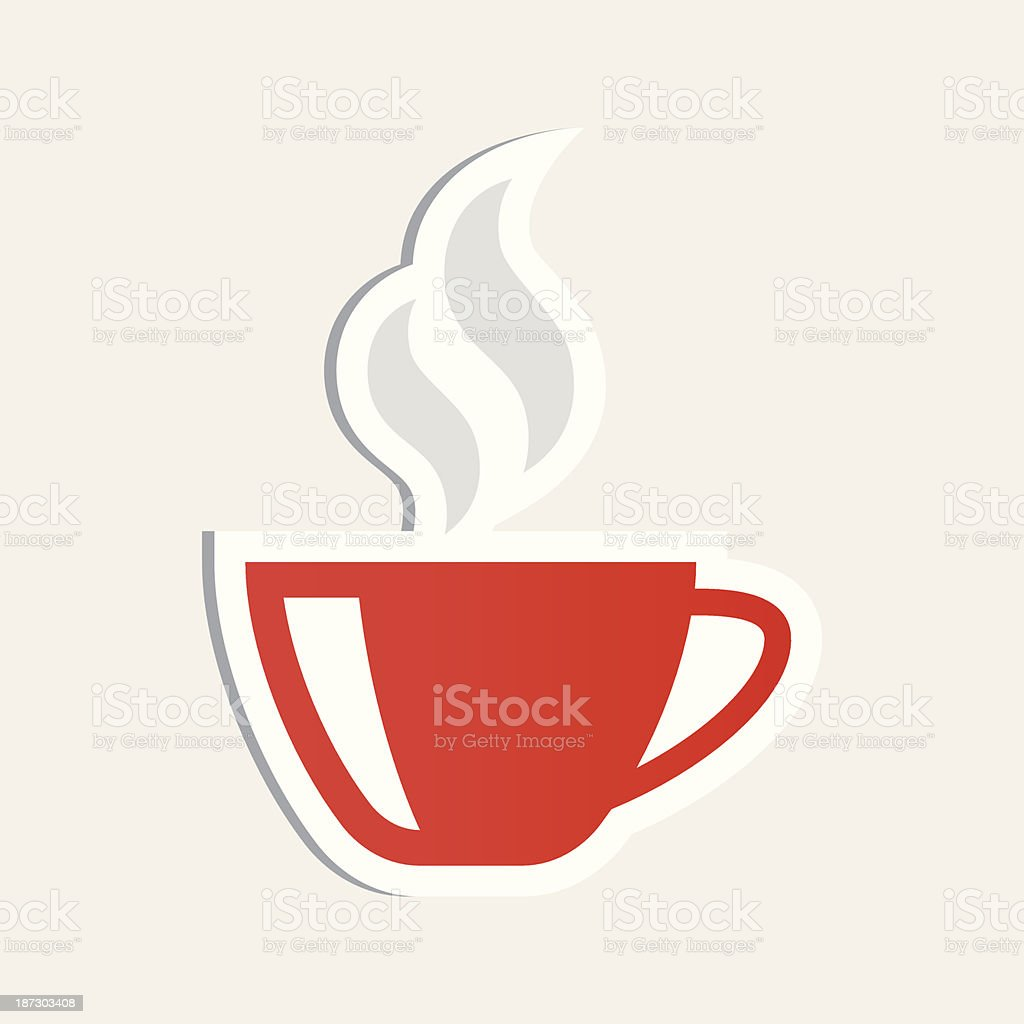 Coffee cup sticker vector art illustration