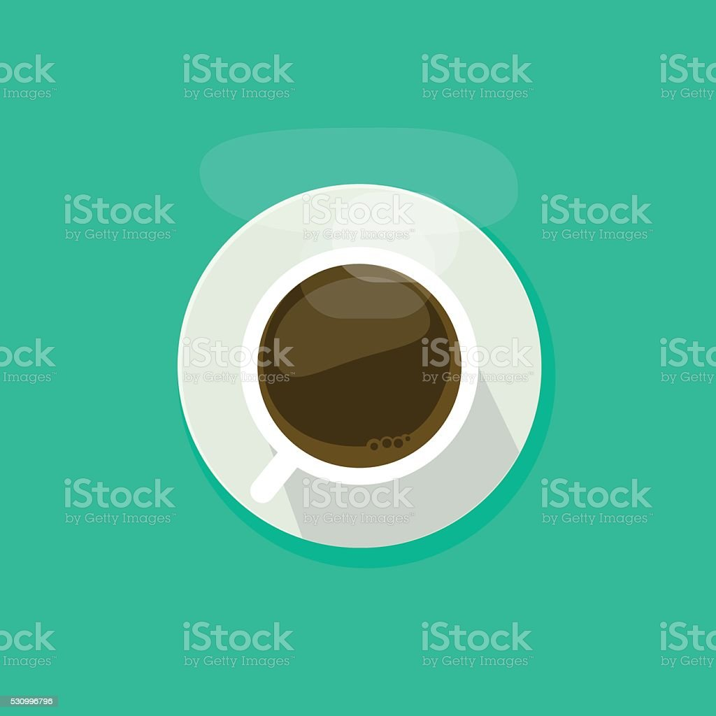 Coffee cup top view isolated on blue background, tea mug vector art illustration