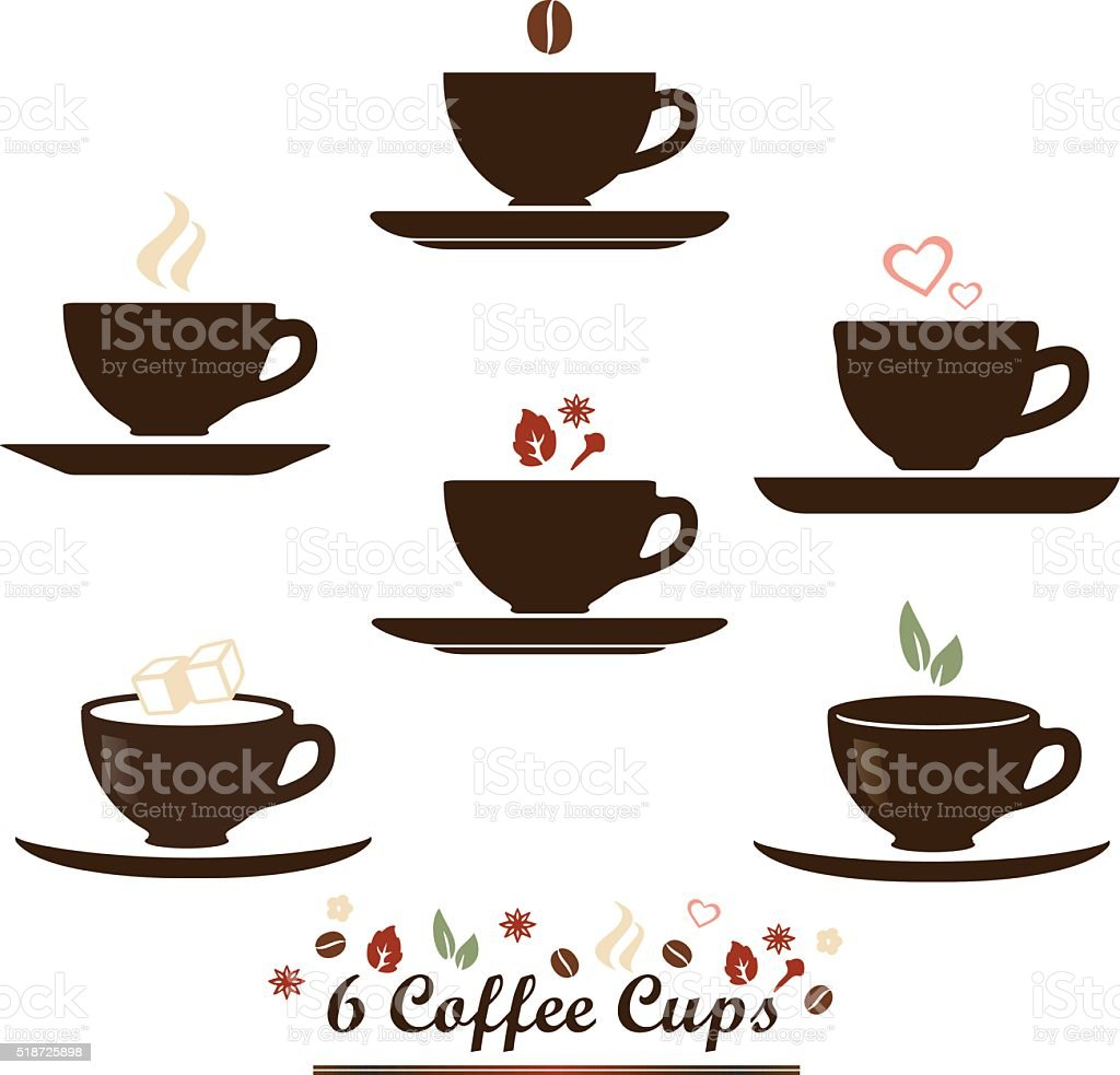 Coffee cup vector icon set. vector art illustration