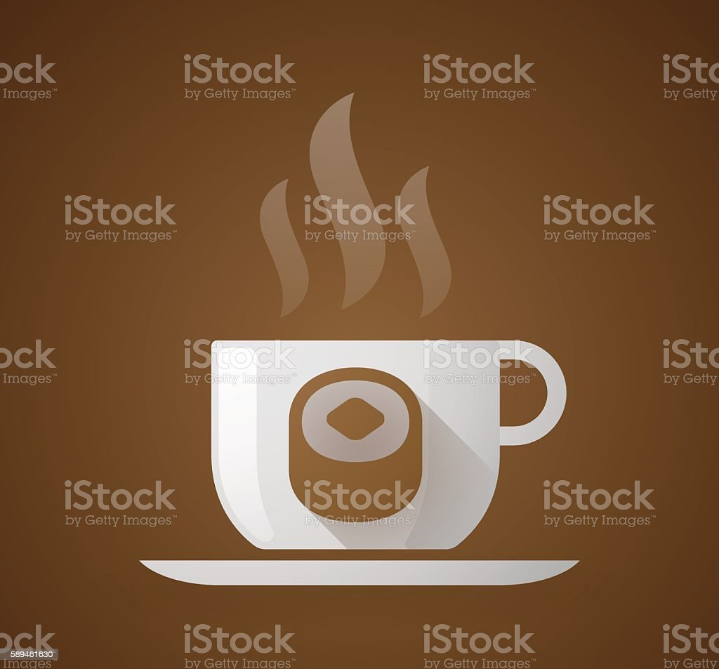 Coffee cup with a sushi vector art illustration