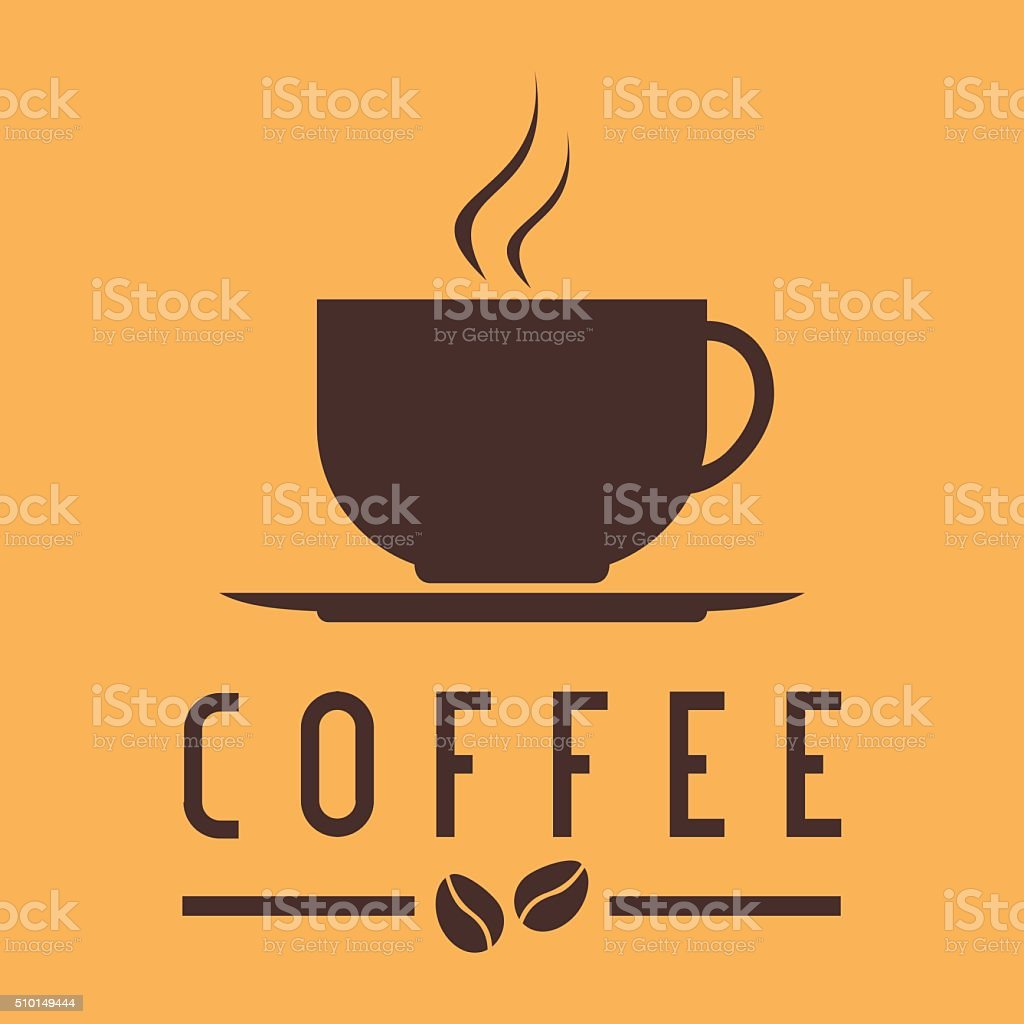 Coffee cup with bean logo vector art illustration