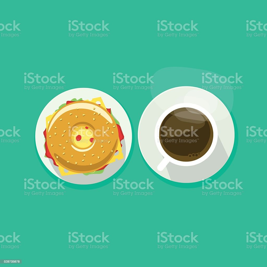 Coffee cup with donut sandwich top view vector illustration vector art illustration