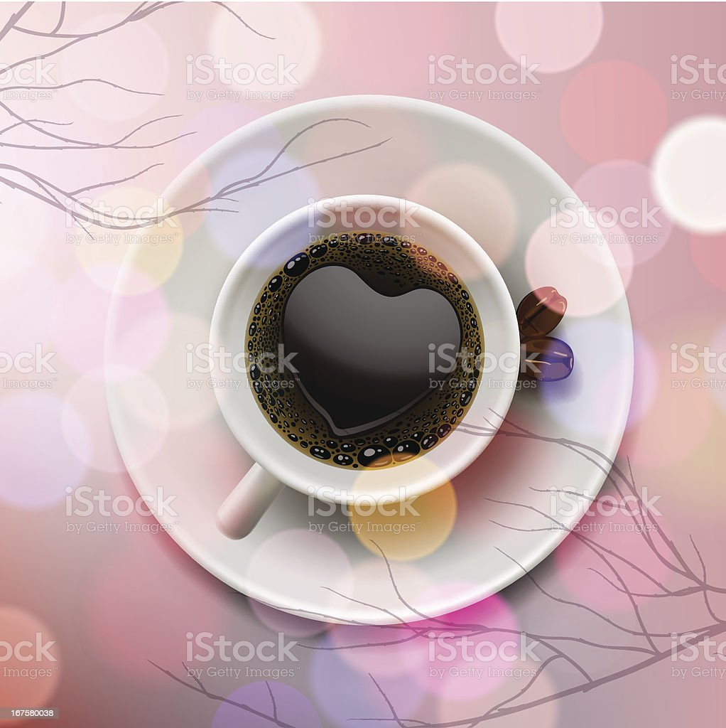 Coffee cup with heart shape of froth on pink background vector art illustration