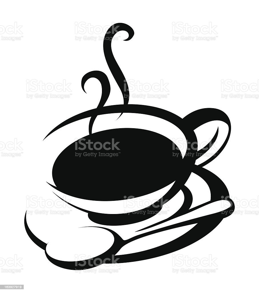 Coffee cup with spoon and saucer line art royalty-free stock vector art
