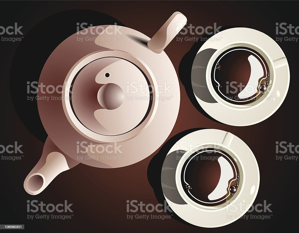 Coffee cups and Jar royalty-free stock vector art