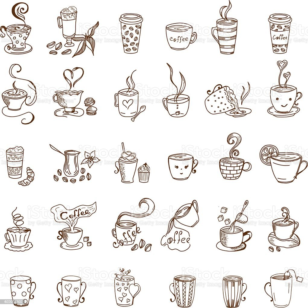 Coffee Cups and Tea Cups Doodles set vector art illustration