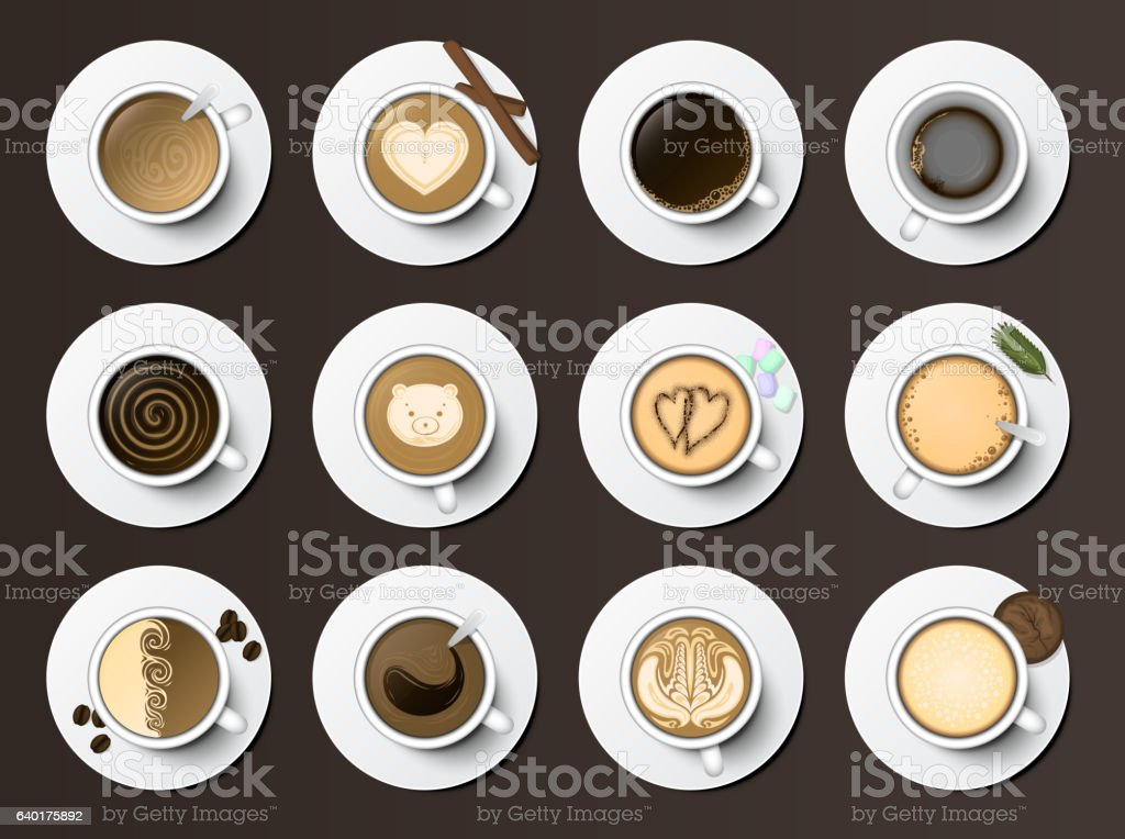 Coffee cups assortment top view collection vector illustration. vector art illustration