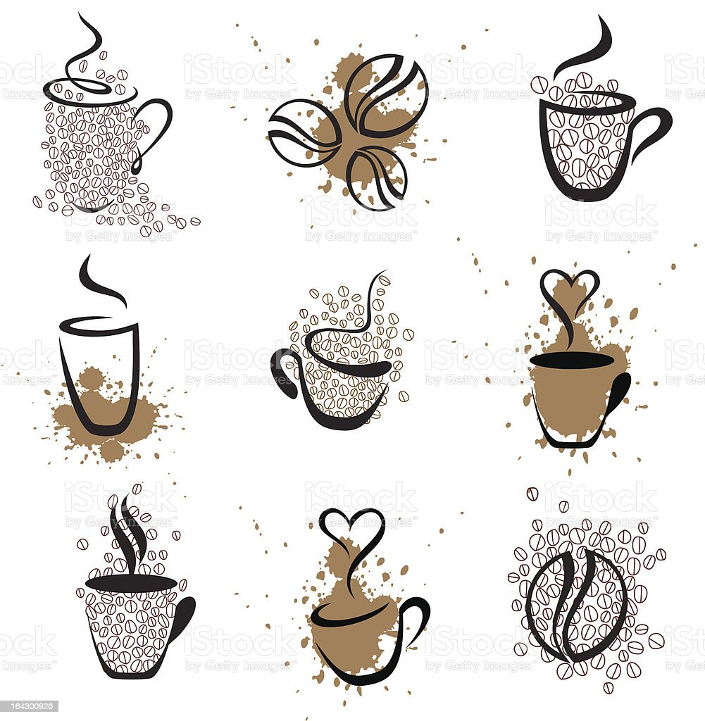 coffee cups vector art illustration