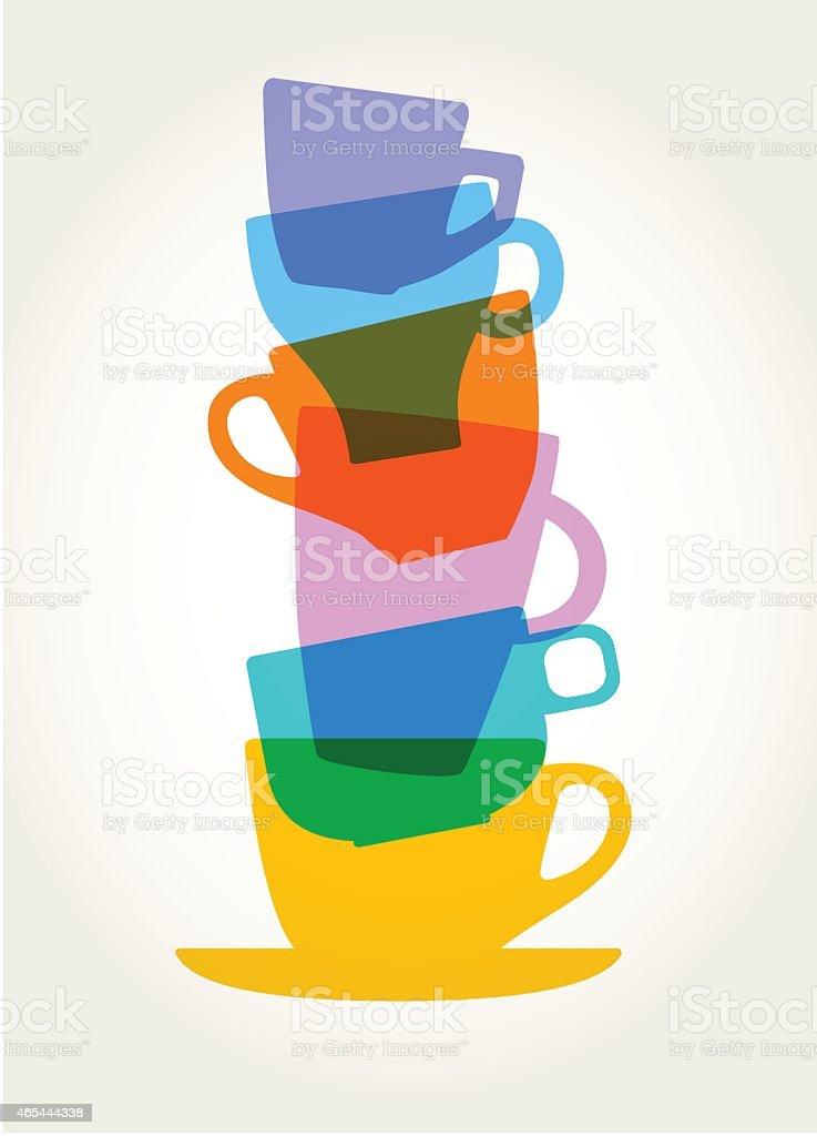 coffee cups vector art illustration