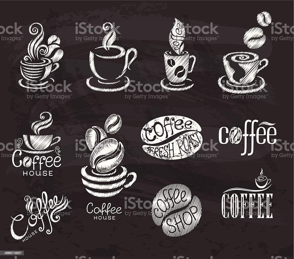 Coffee. Design elements on the chalkboard. vector art illustration