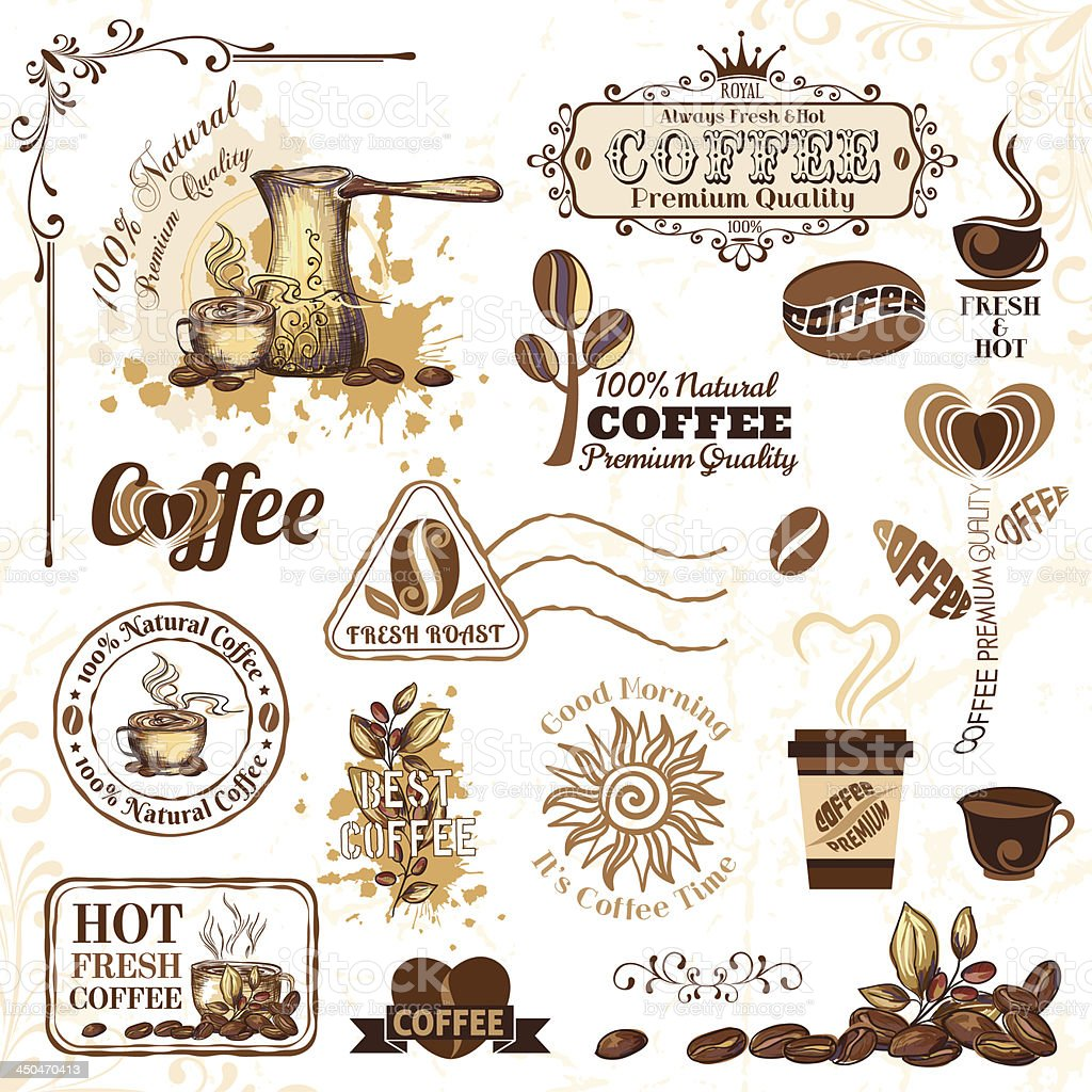 Coffee design elements vector art illustration