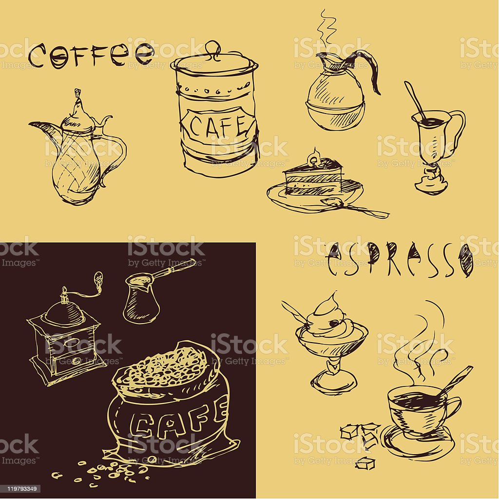 Coffee design hand drawn elements royalty-free stock vector art