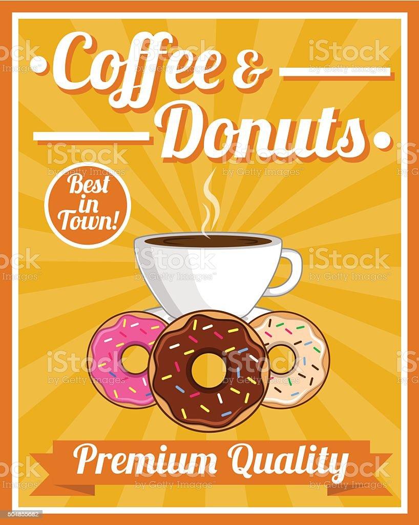 Coffee & Donuts Poster vector art illustration