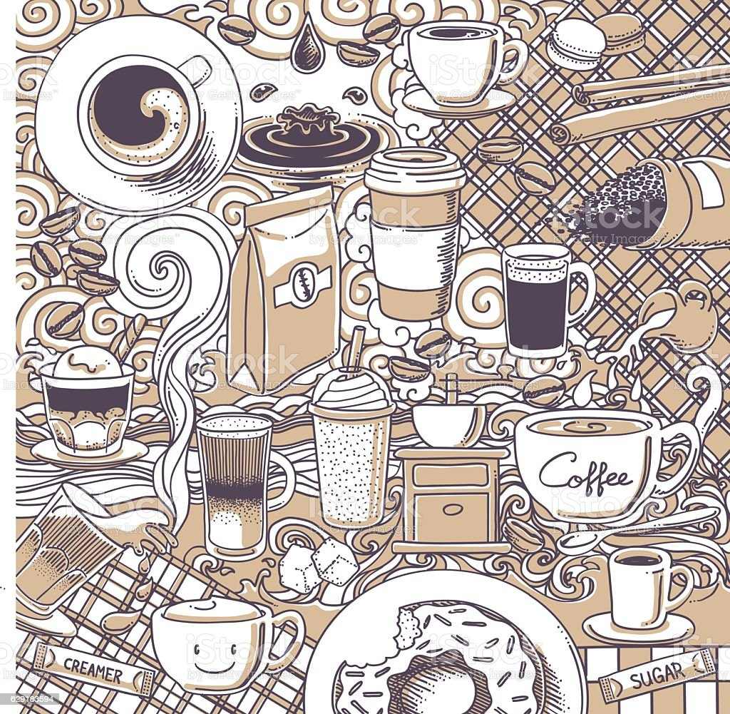 coffee doodle background vector art illustration
