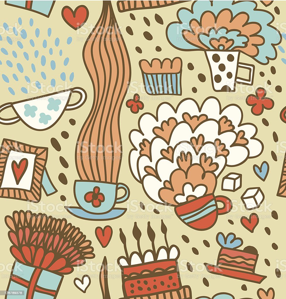 Coffee doodle pattern royalty-free stock vector art