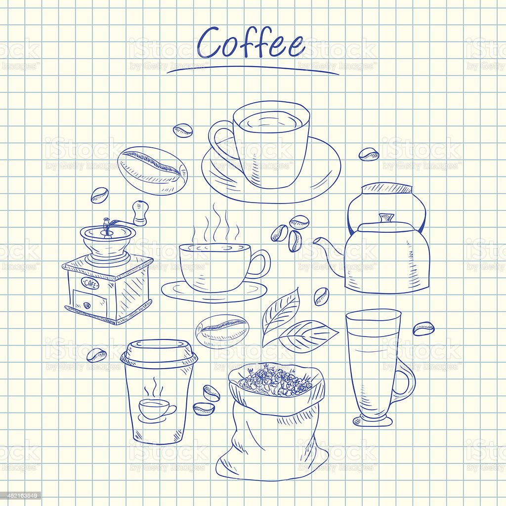 Coffee doodles - squared paper royalty-free stock vector art
