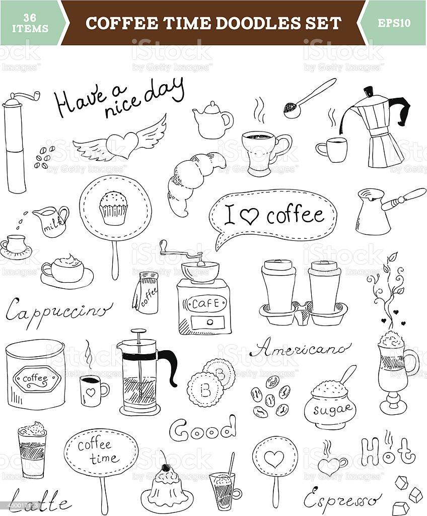 Coffee doodles vector elements vector art illustration