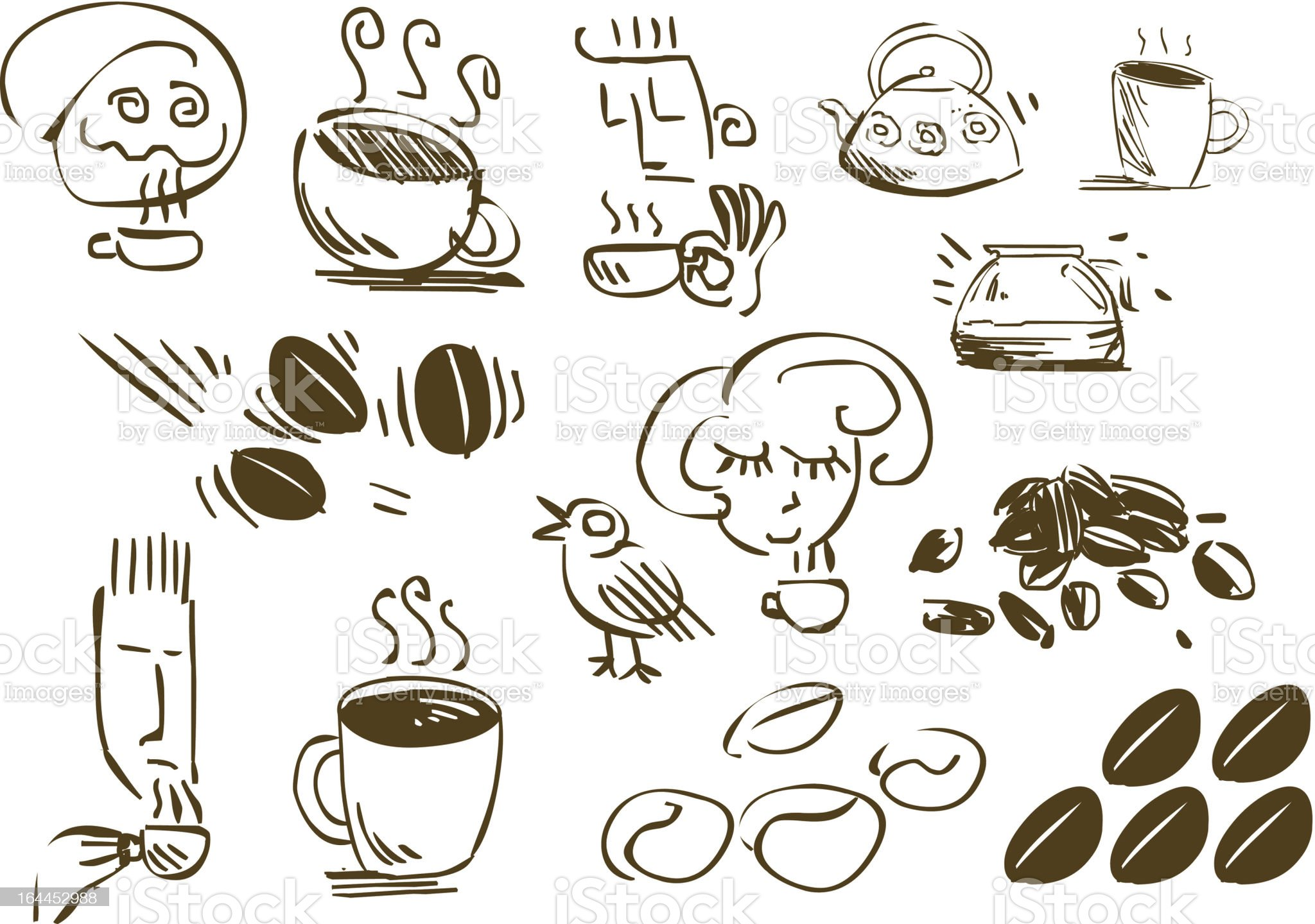 Coffee Doodles royalty-free stock vector art