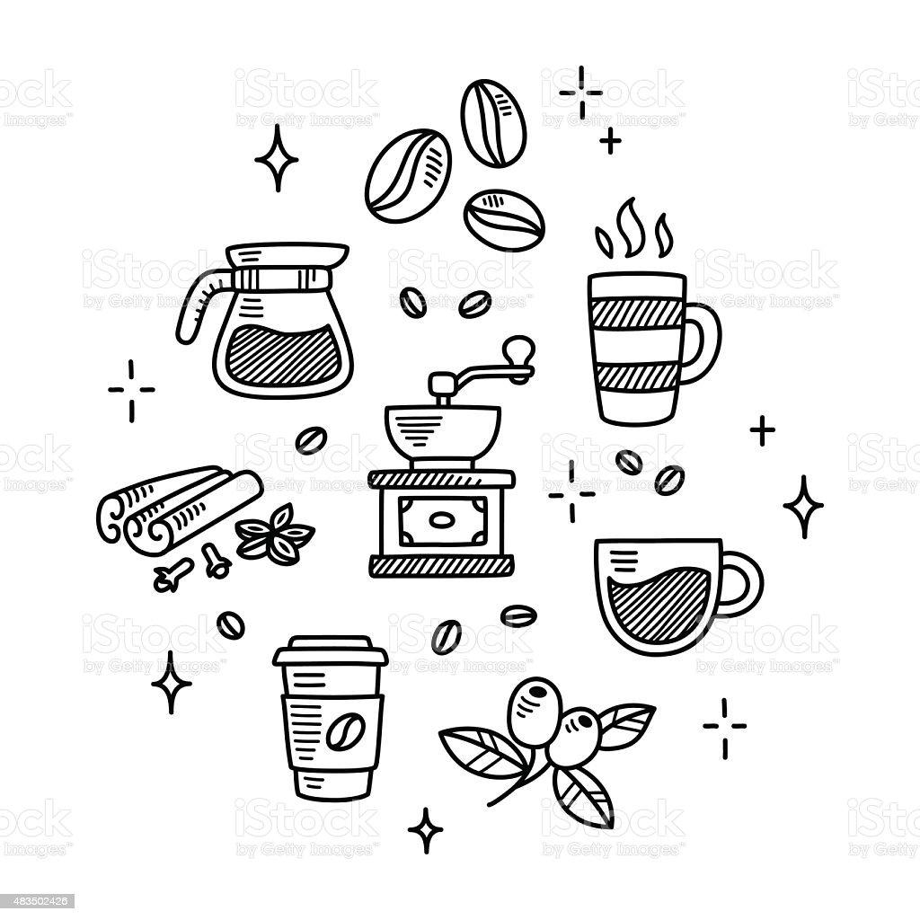 Coffee doodles vector art illustration