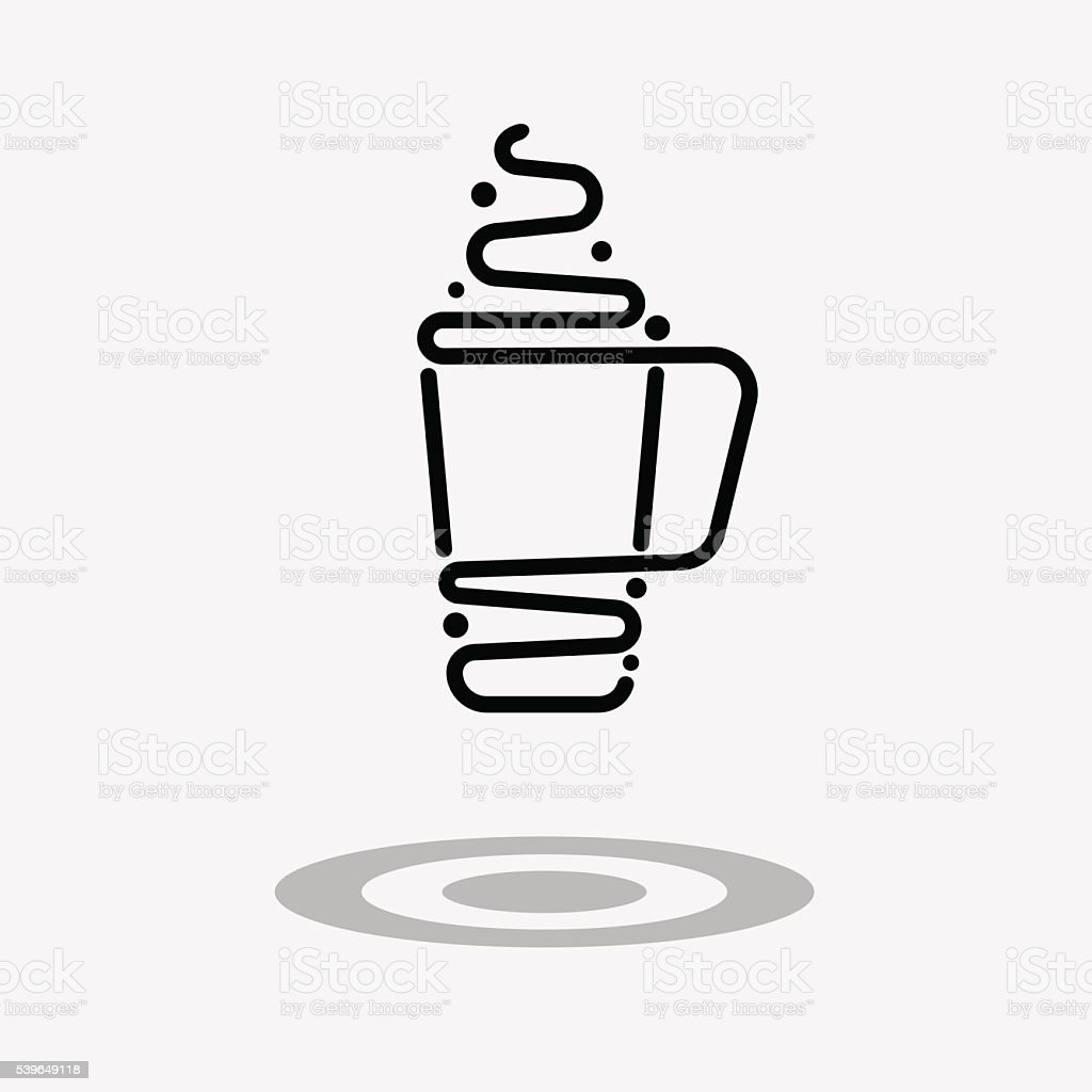 Coffee drink or cup of tea icon. vector art illustration